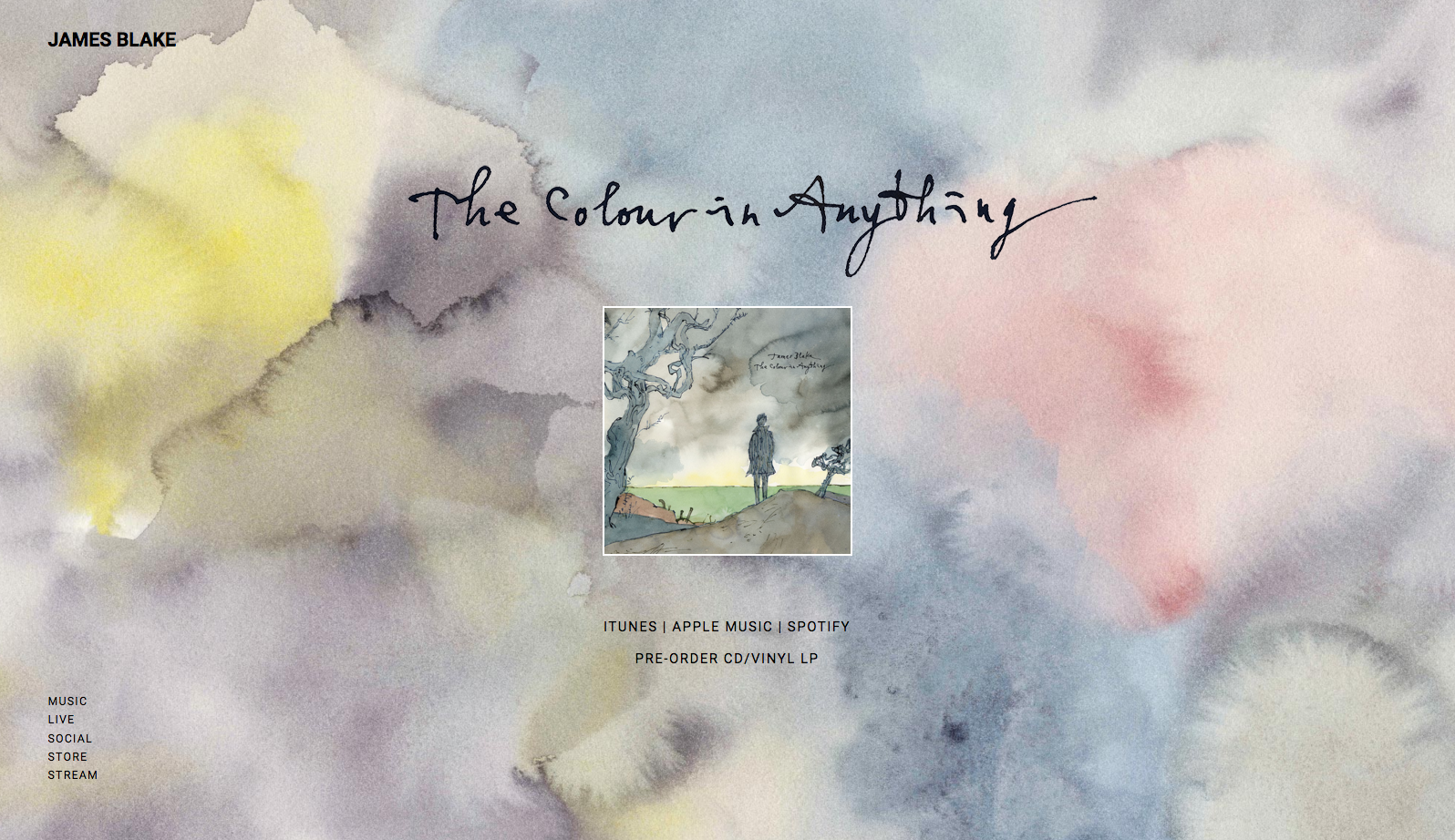 The homepage of James Blake's website with art by Sir Quentin Blake