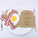 Bacon and eggs shaped invitations, created for the launch of Hill & Friends