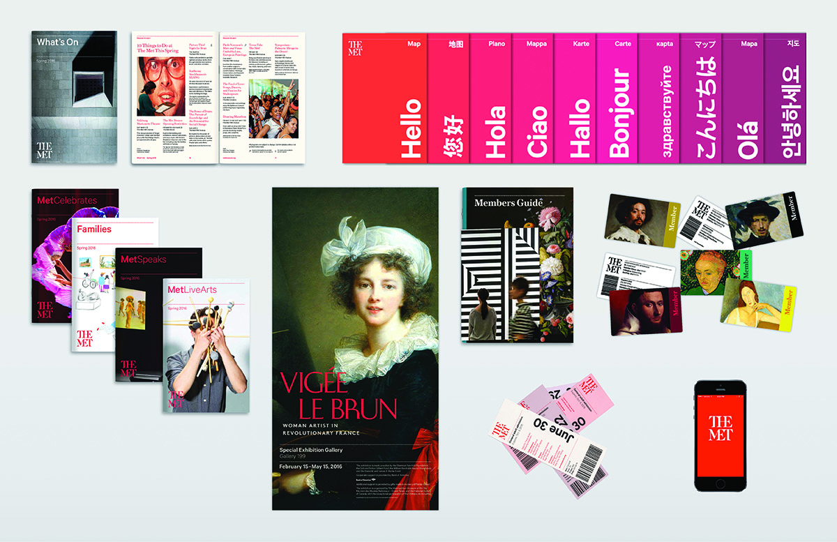 The Met's new brand identity as seen on printed material and the app