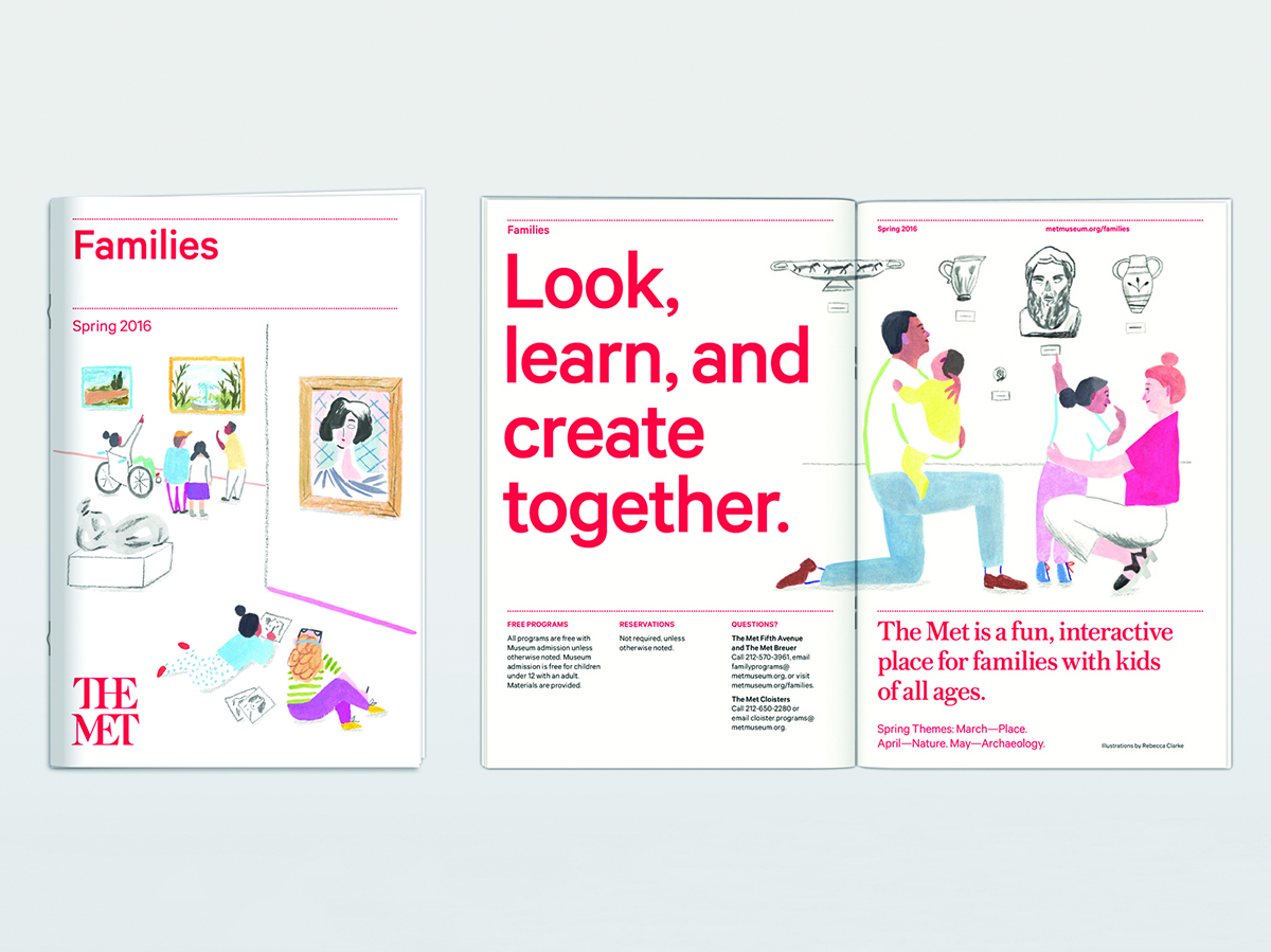 Family leaflets created as a part of the Met's rebranding