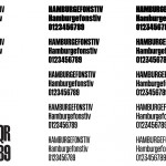 Schmalfette Grotesk, the original inspiration for our new display face Schear Grotesk, is shown bottom left. The typeface development is shown from left to right, with the original iteration left, a midpoint beta in the centre, and the final family of regular, medium, semi bold, bold and black, shown right.
