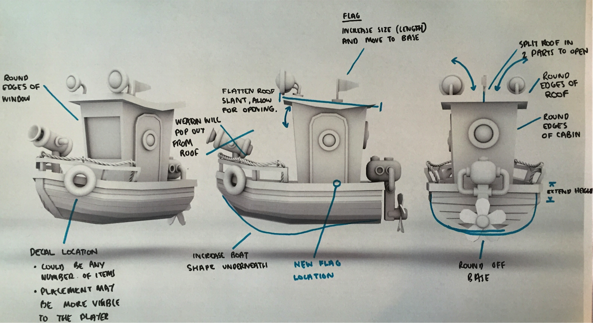 Early boat designs for the game