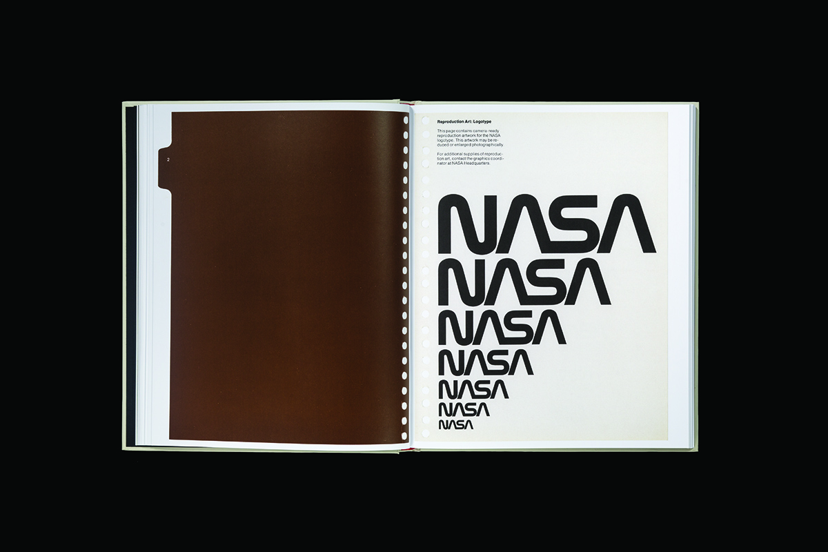 Pages from the NASA Graphics Standard Manual, which was the product of a kickstarter campaign for Pentagram designers Jesse Reed and Hamish Smyth. Photo by Brian Kelly