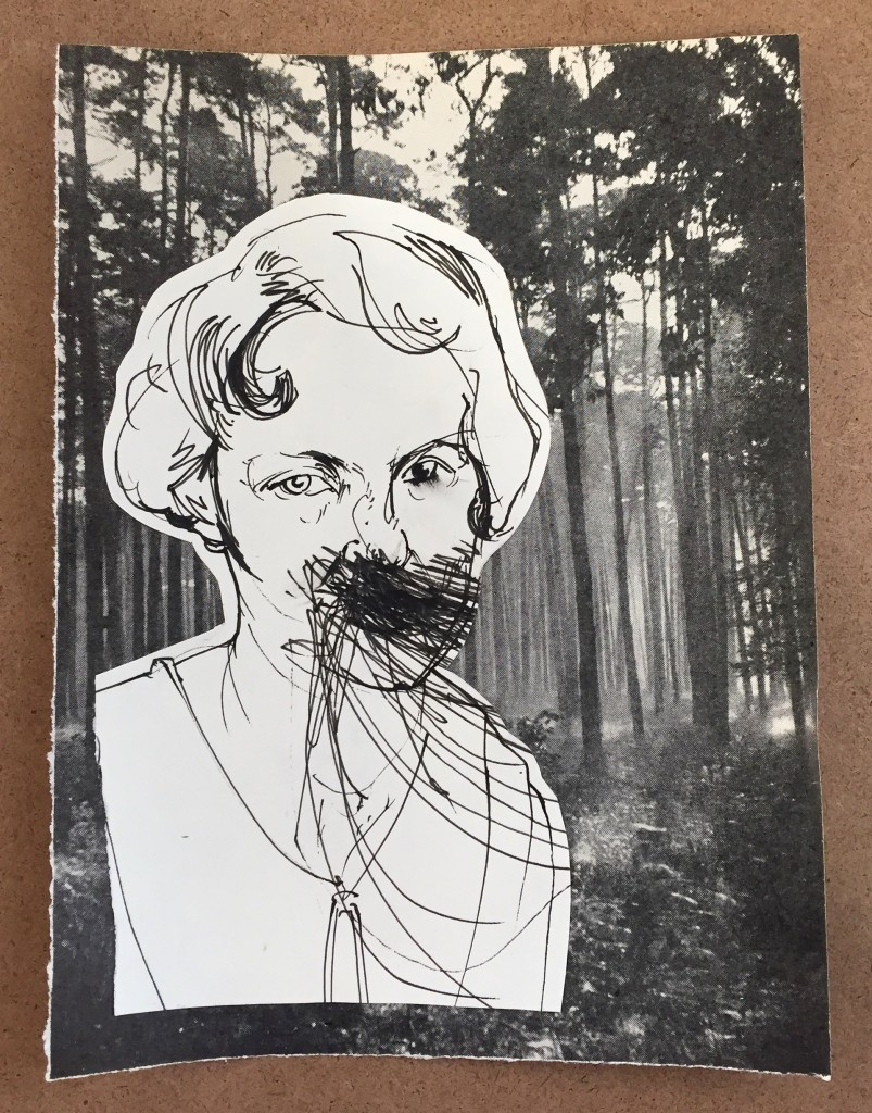 """""""She's called Elsa, and she's in a forest now"""" - collage from an old photograph Vest got from a Stockton flea market"""