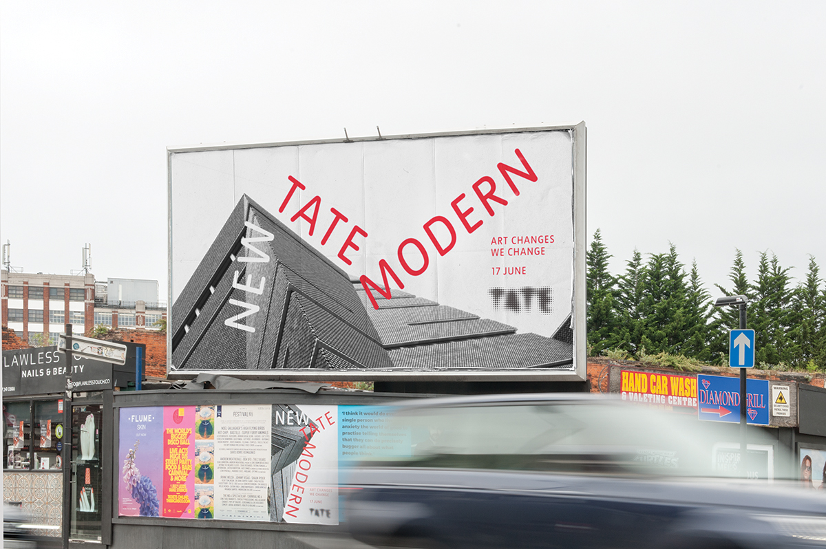 Billboard advertising Tate Modern's new building