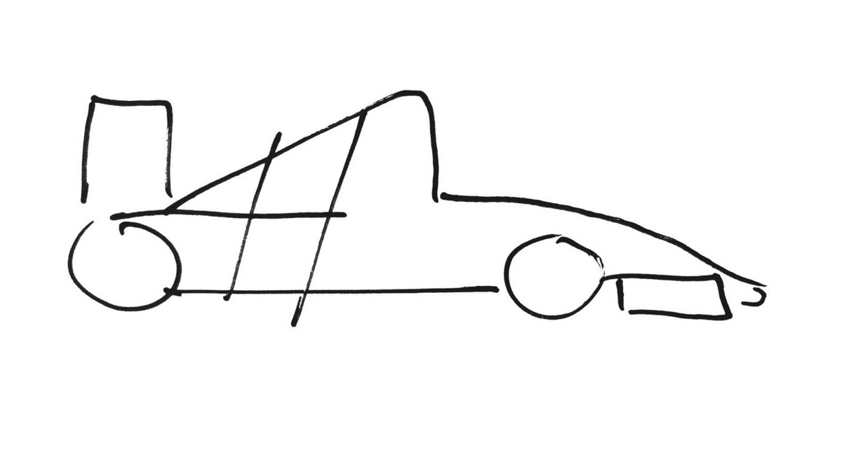 Initial concept drawing of the car livery. Three simple lines were enough to define it
