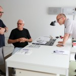 Gary Hustwit, Dieter Rams, and Erik Spiekermann during filming