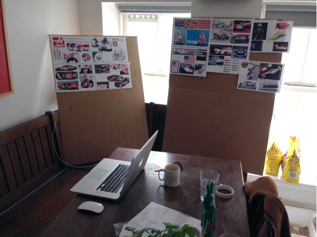 My first day working on the Haas F1 proposal from my kitchen/office in the Summer of 2014