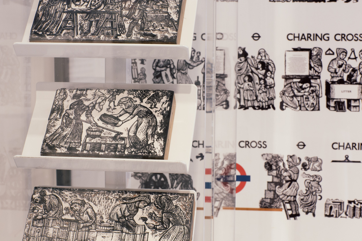 Original wood blocks cut to produce details for murals in Charing Cross underground station by David Gentleman, 1976 -1979. Image by Luca Sage, courtesy of London Transport Museum