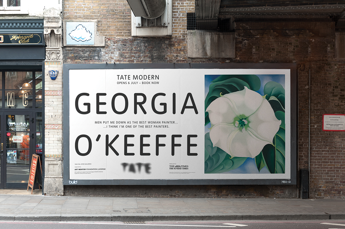 Tate's new identity as applied to billboards
