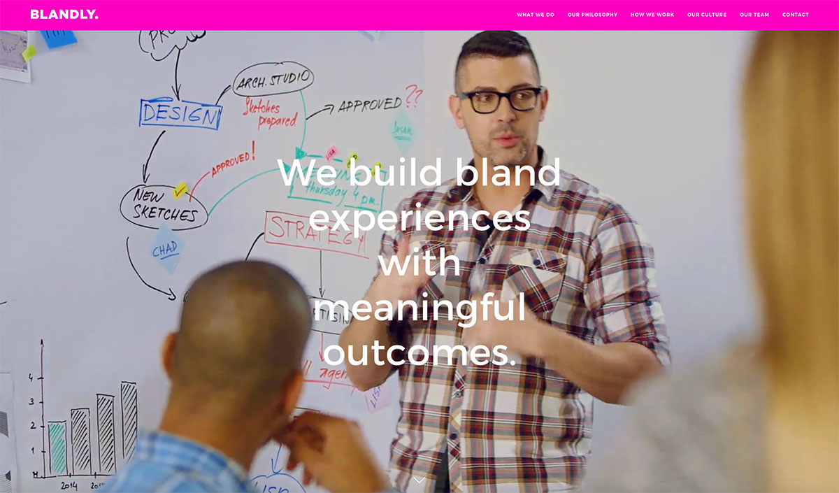 the website of branding agency blandly