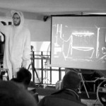 Snask's Erik in bunny suit at Creative Mornings event in 2012