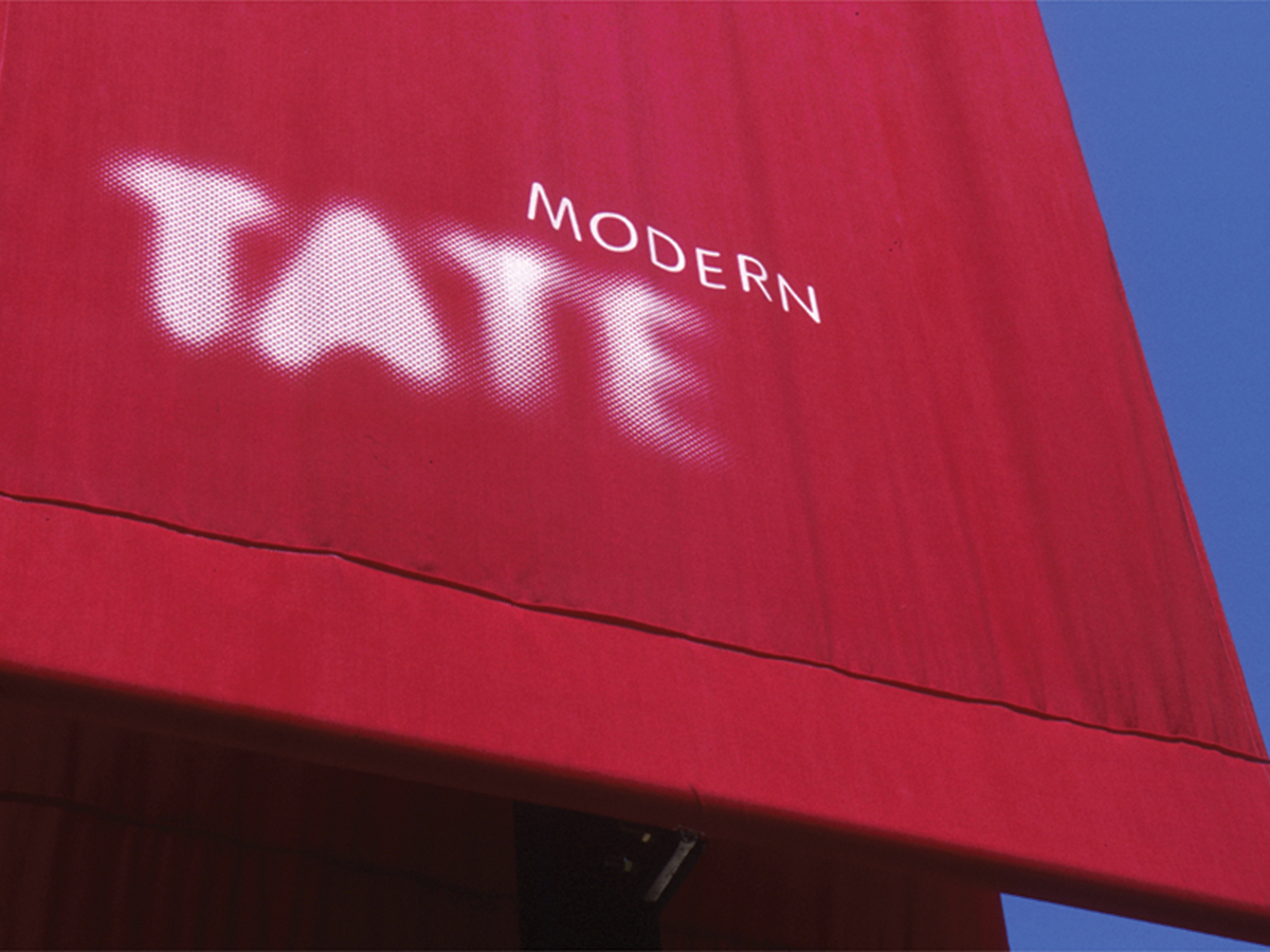The Wolff Olins-designed identity for Tate and a banner at Tate Modern. The design team was headed up by WO chair Brian Boylan and creative director, Marina Willer, now a partner at Pentagram in London. Photos: Tate Photography © Tate 2013