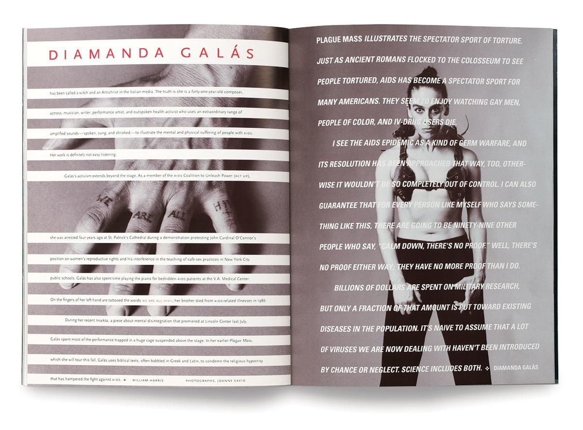 Diamanda Galás in a spread from a 1993 issue