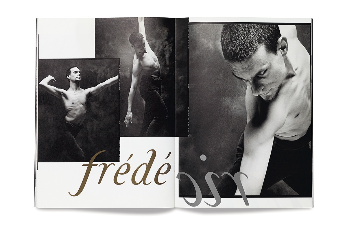 Spread from the Summer 1996 issue featuring the dancer Frédéric Gafner photographed by Andrew Eccles