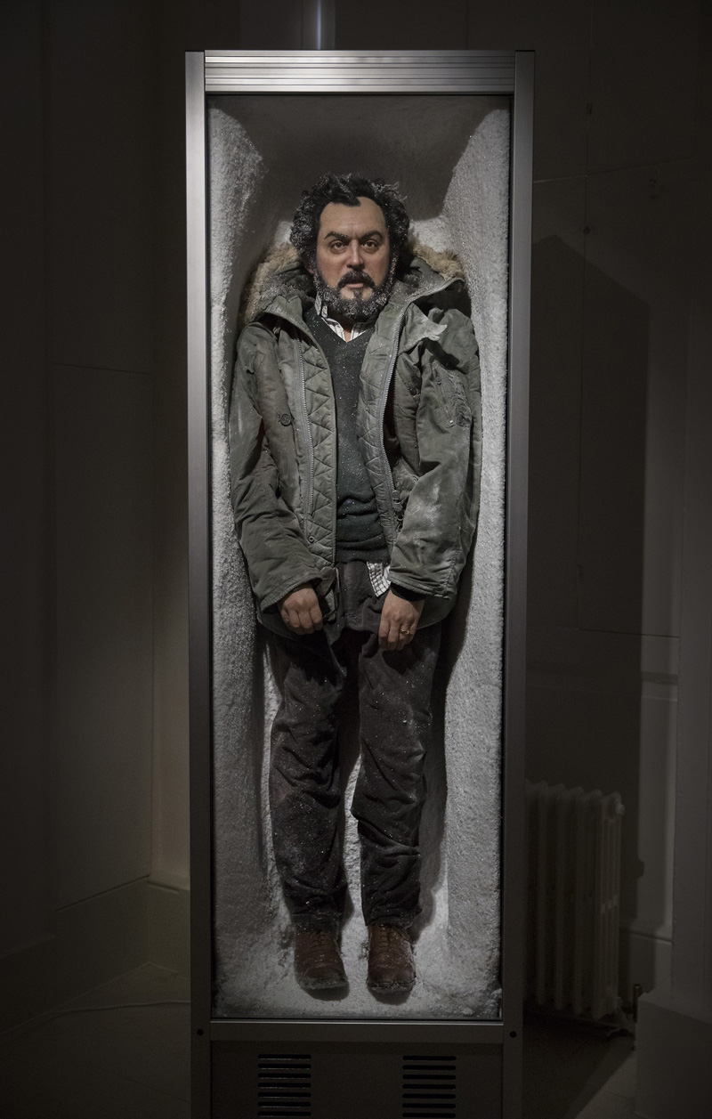 IMAGE FREE TO USE IN CONNECTION WITH THIS EXHIBITION ONLY© Licensed to London News Pictures. The Second Law by Paul Fryer at the exhibition Daydreaming with Stanley Kubrick in partnership with Canon at Somerset House in London. The work is of a realistic waxwork figure depicting Stanley Kubrick in a glass fronted freezer covered in ice and snow in reference to the final scene of The Shining. The show opens on July 6, 2016 and runs until August 24, 2016. The exhibition features 50 works inspired by the legendary film director from a host of contemporary artists, musicians and filmmakers. London, UK. Photo credit: Peter Macdiarmid/LNP