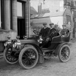 Four gentlemen golfers in a Car, St Andrews, 1904. By John Fairweather, held in Cowie Collection. Courtesy of the University of St Andrews Library: GMC-F-28