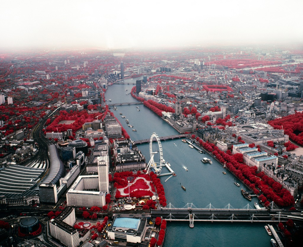 aerial landscape of London city shot on colour infrared film