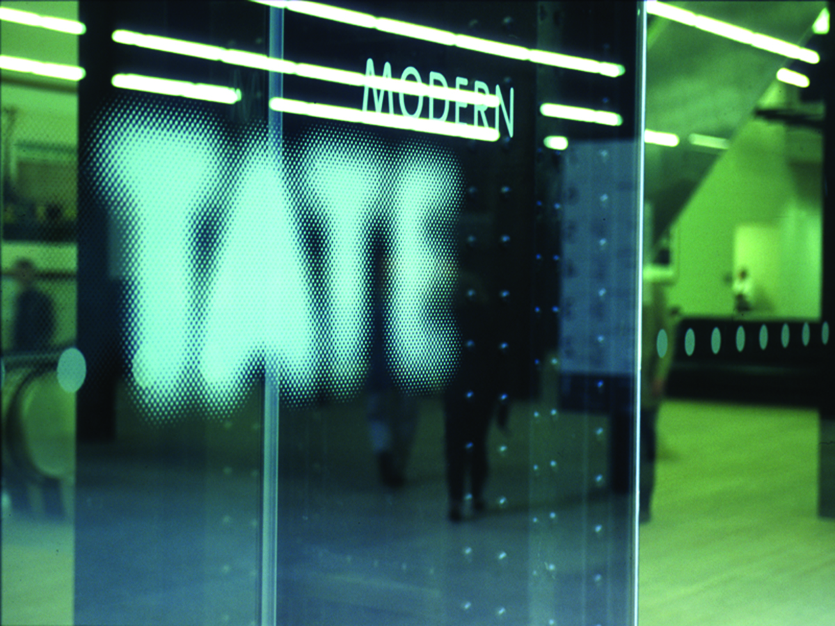 Tate logo as shown on glass partitioning