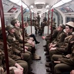 Soldiers on the tube in London, with permission from 14-18 Now