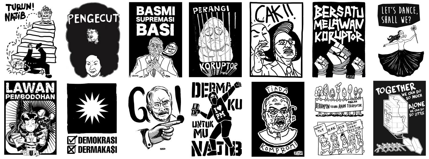 Protest posters created by GRUPA, a collective of illustrators calling for political reform in Malaysia