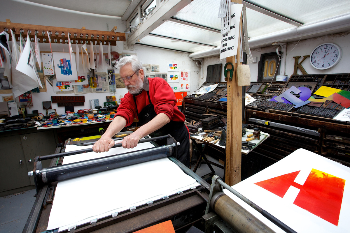Alan Kitching in his letterpress workshop