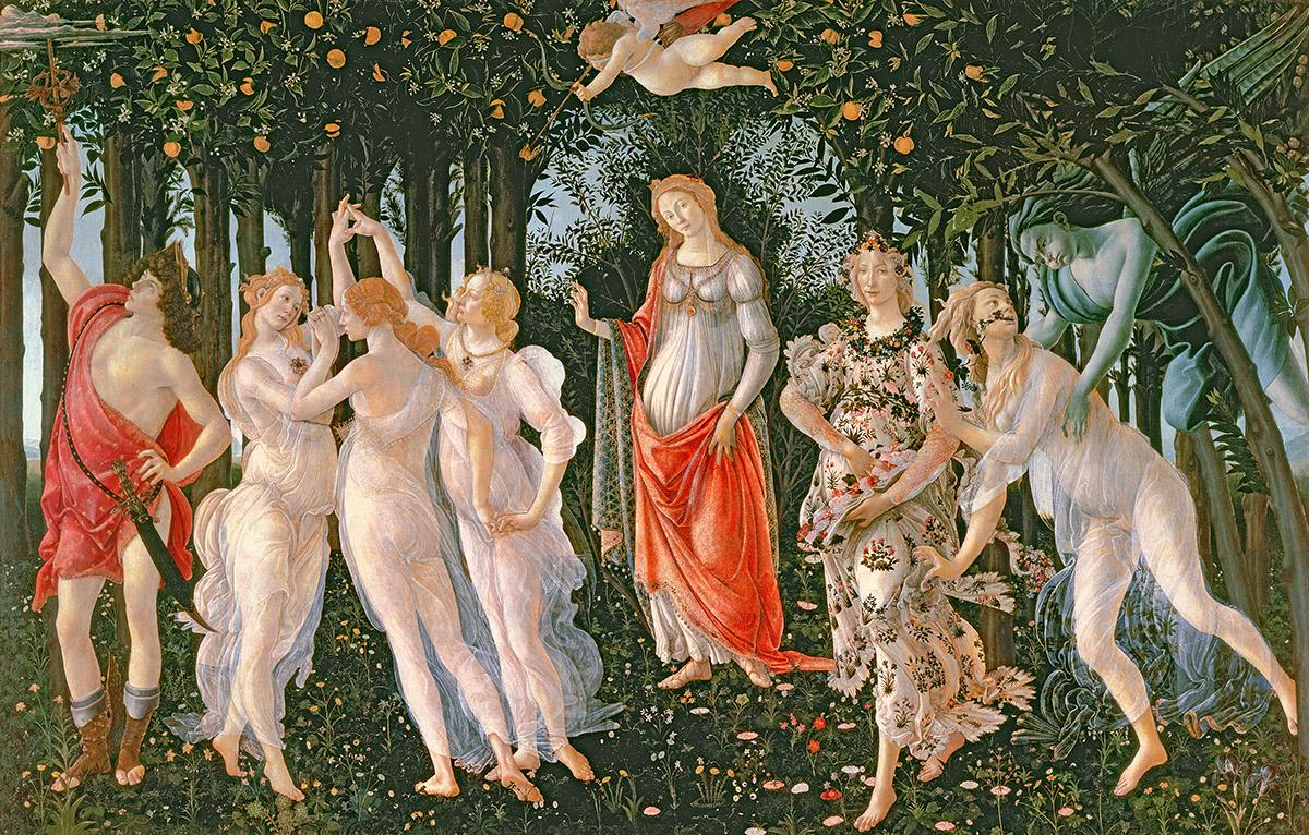 Image credit: Primavera, c.1478, (tempera on panel), Sandro Botticelli (1444/5-1510) / Galleria degli Uffizi, Florence, Italy / Bridgeman Images