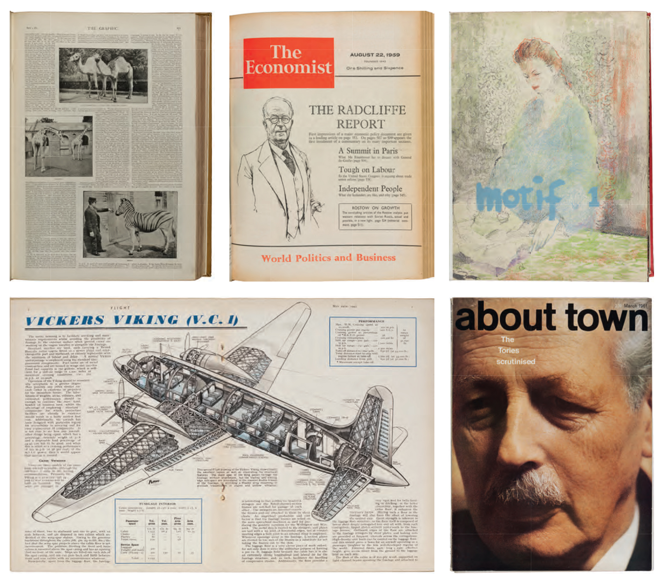 The Economist (August 22, 1959), designed by Reynolds Stone, published by Economist Newspaper Ltd; Motif (November 1958), drawing by Charles Mozley, published by Shenval Press; About Town (March 1961), Cornmarket Press; Flight (May 24, 1945), published by Flight Publishing