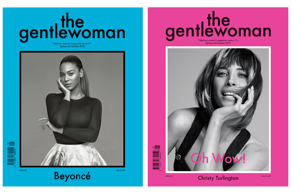 The Gentlewoman, issue 7, Spring/Summer 2013, Beyoncé photographed by Alasdair McLellan and issue 5, Spring/Summer 2012, Christy Turlington photographed by Inez & Vinood. Images courtesy of The Gentlewoman. Lead image (top): Penny Martin © Ivan Jones