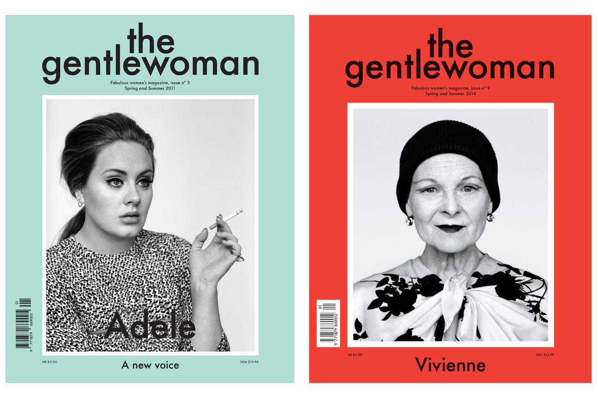 The Gentlewoman, issue 3, Spring/Summer 2011, Adele photographed by Alasdair McLellan and issue 9, Spring/Summer 2014, Vivienne Westwood photographed by Alasdair McLellan