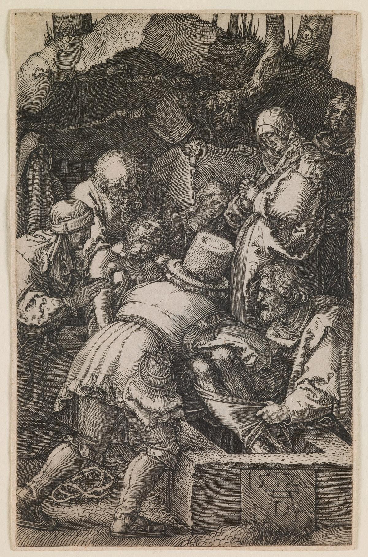 "Image Credit: Deposition, from the series ""The Little Passion"", 1512 (engraving), Dürer or Duerer, Albrecht (1471-1528) / Saint Louis Art Museum, Missouri, USA / Museum purchase / Bridgeman Images"