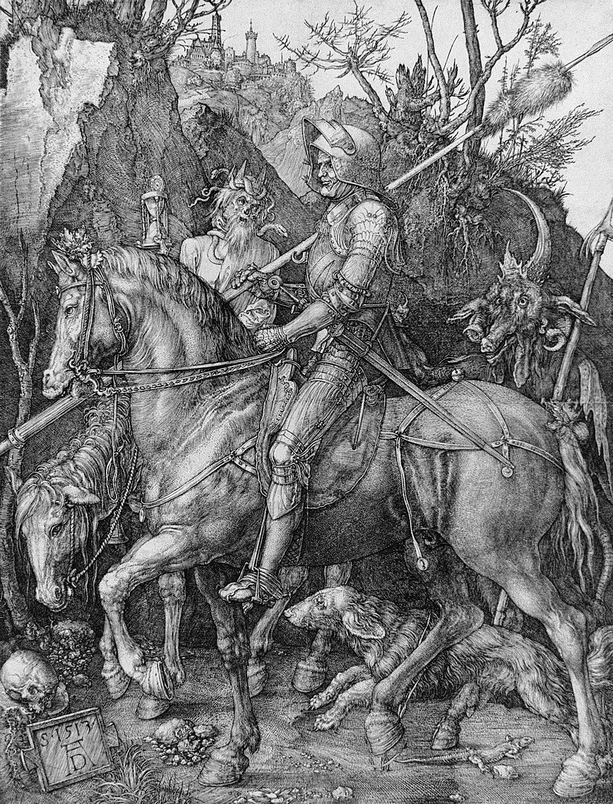 Image Credit: The Knight, Death and the Devil, 1513 (engraving), Dürer or Duerer, Albrecht (1471-1528) / Cabinet des Estampes et des Dessins, Strasbourg, France / Bridgeman Images