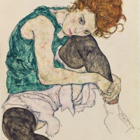 Image Credit: Seated Woman with Bent Knee, 1917 (gouache, w/c and black crayon on paper), Schiele, Egon (1890-1918) / Narodni Galerie, Prague, Czech Republic / Bridgeman Images
