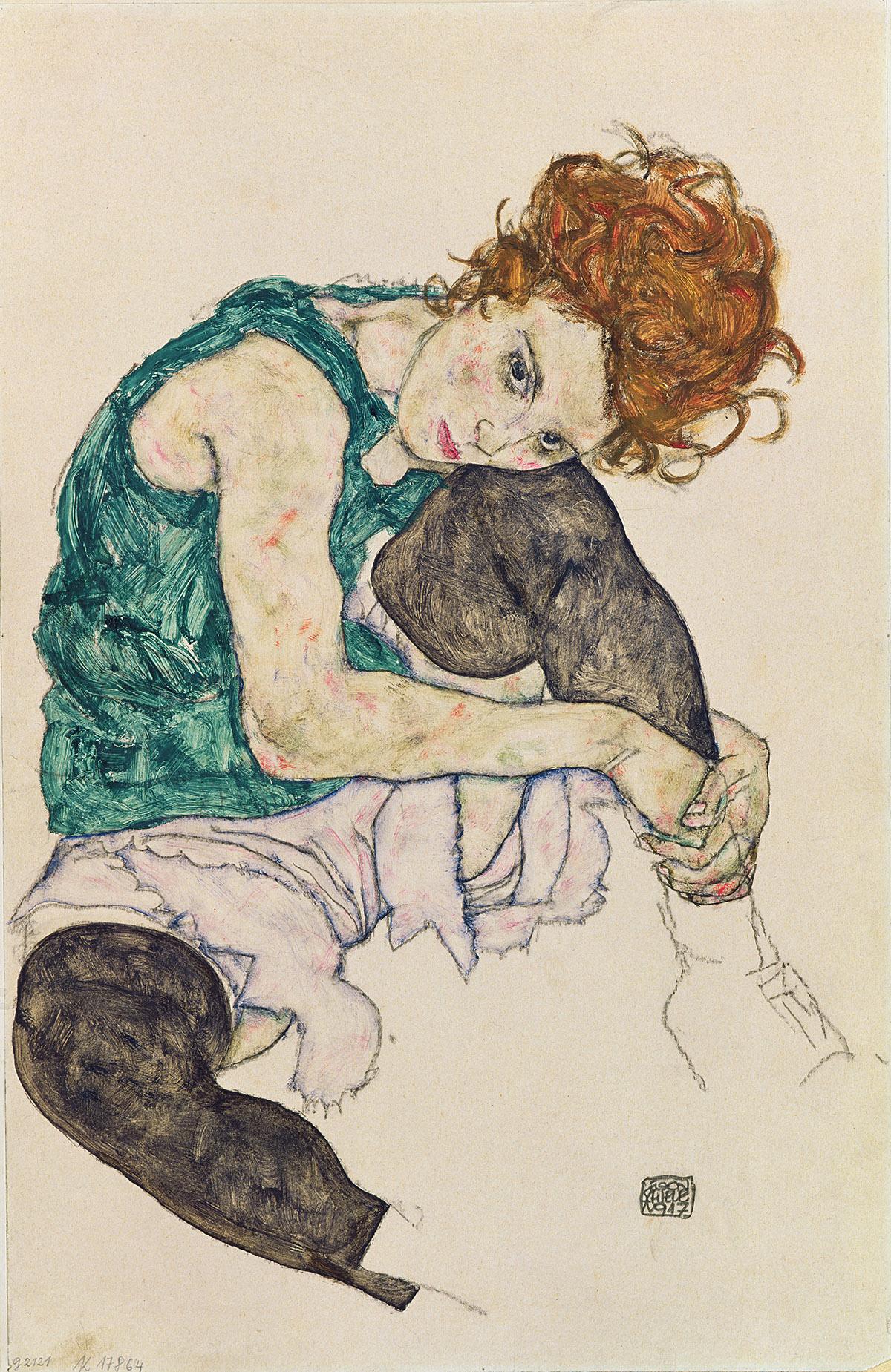 Image Credit: Seated Woman with Bent Knee, 1917 (gouache, w/c and black crayon on paper), Schiele, Egon (1890-1918) / Narodni Galerie, Prague, Czech Republic / Bridgeman Images