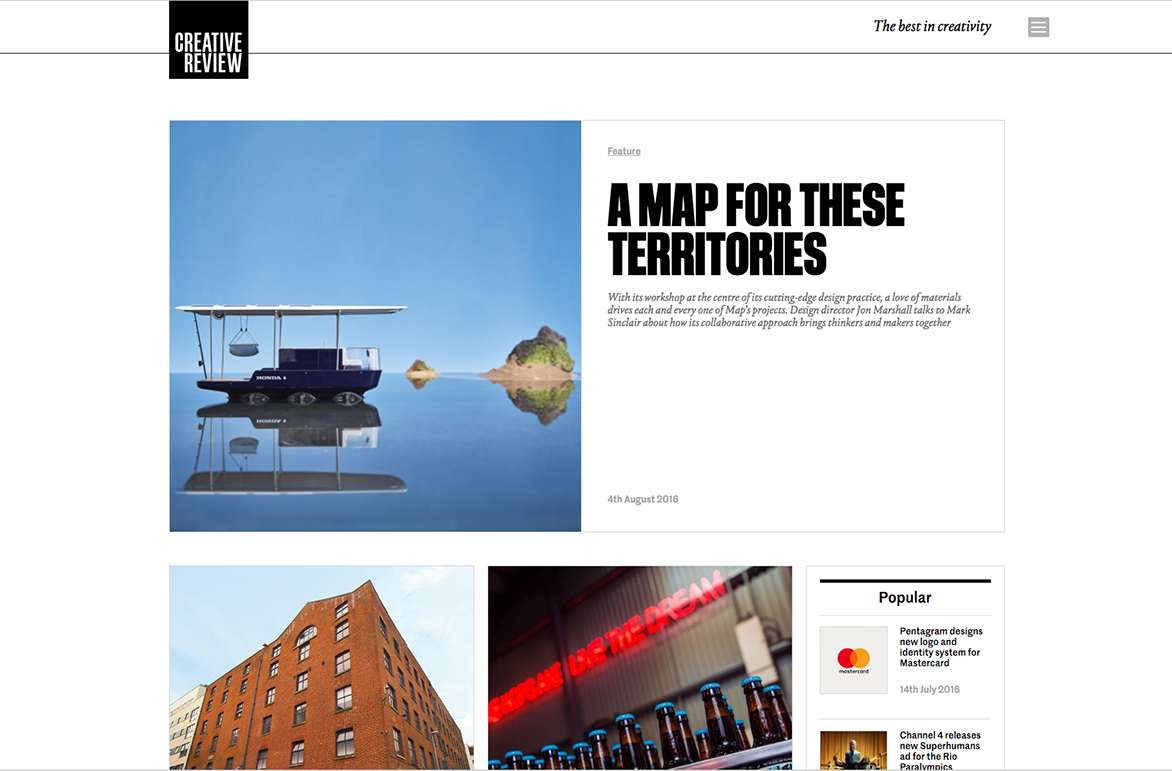 The new creative review website homepage