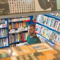 Magazine buyer Marc Robbemond of Amsterdam magazine store Athenaeum Nieuwscentrum