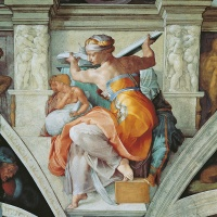 Libyan Sibyl, Sistine Chapel (Cappella Sistina), by Michelangelo Buonarroti, 16th Century, fresco (post restoration) / Musei e Gallerie Pontificie, Musei Vaticani, Vatican City / Mondadori Portfolio / Bridgeman Images