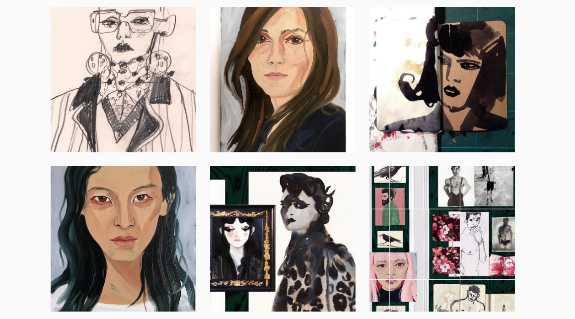 Gill Button's Instagram account, @buttonfruit, where she posts sketches, portraits and works in progress