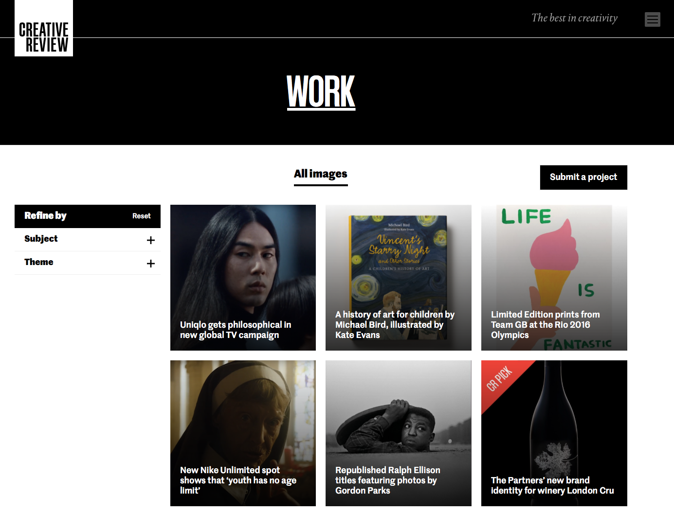 The brand new work section on the new creative review website