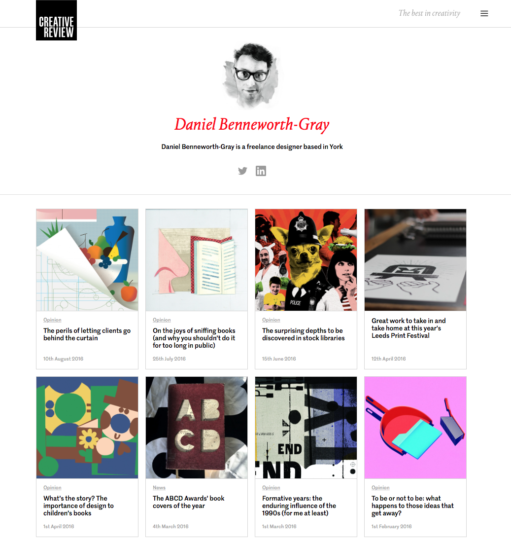 An author page on the new Creative review website