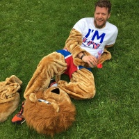 Richard Warmsley, half dressed as the StrongerIn Lion