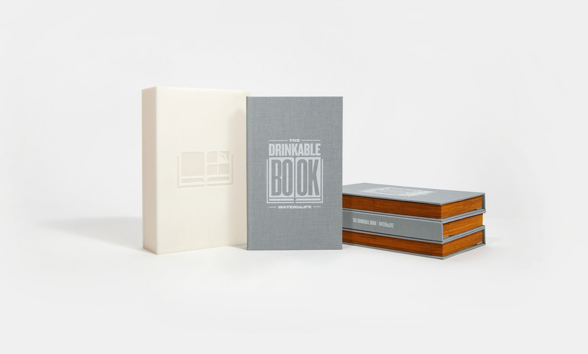 The Drinkable Book. Senior designer: Brian Gartside. Graphic designer: Aaron Stephenson. Chemist: Dr. Theresa Dankovich, PhD