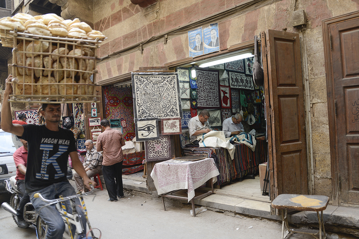 'Tentmaker' Ashraf Hashem's workshop in Cairo. Photo: Dana Smillie