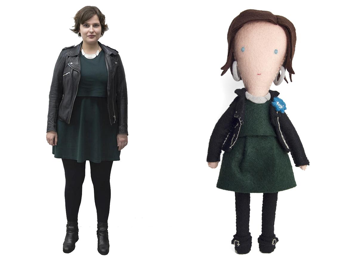 moo.com employee Blanca and her felt figure by Helen Greenstein