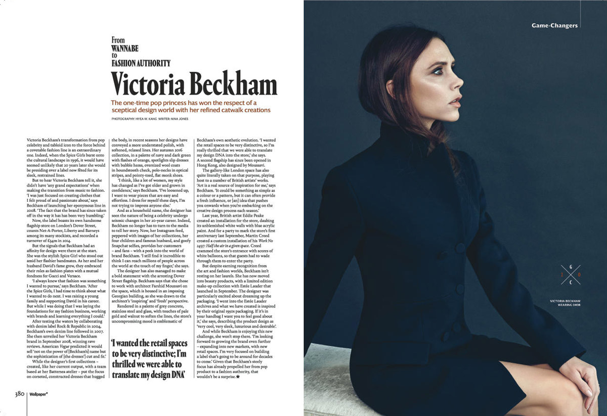 An interview with Victoria Beckham, featured in Wallpaper*'s 20th anniversary issue. Photography: Hyea W Kang