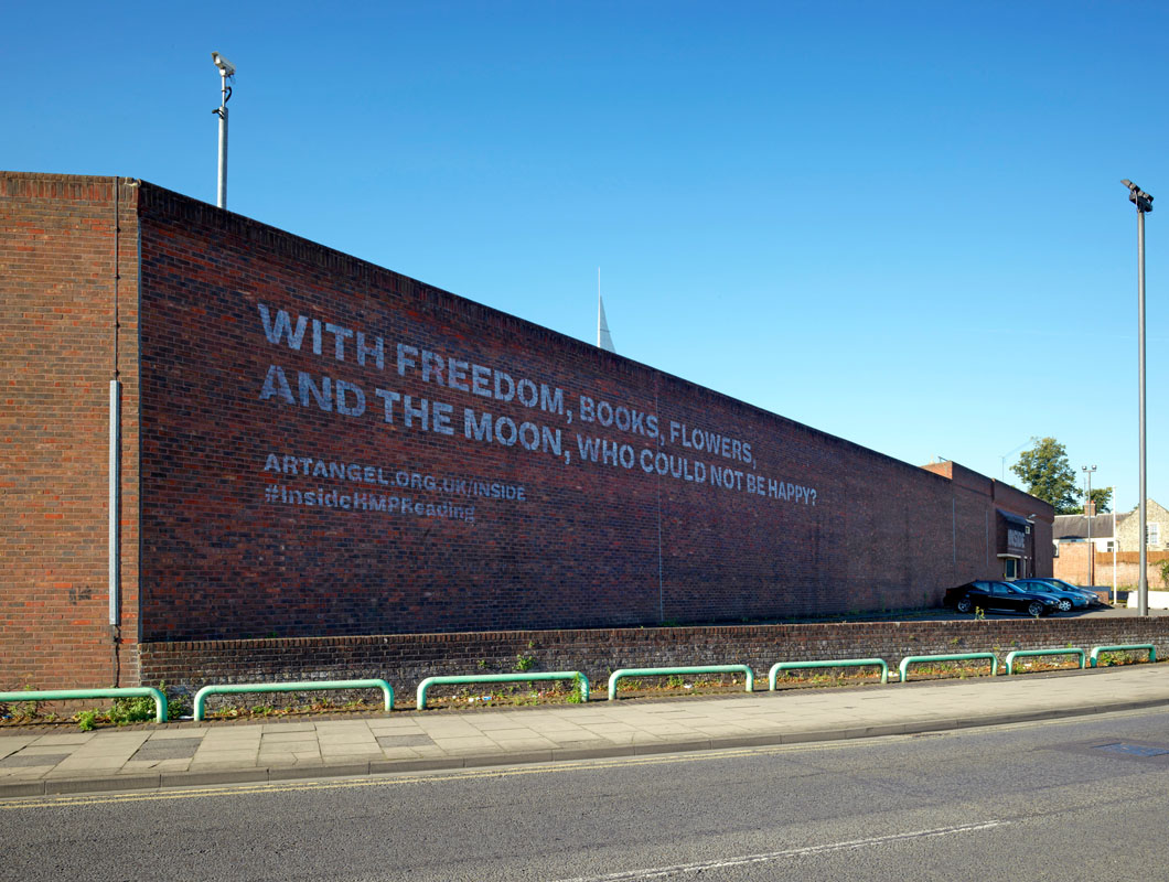 The exterior of Reading Prison, featuring a quote from De Profundis. Image: Marcus J Leith, courtesy of Artangel
