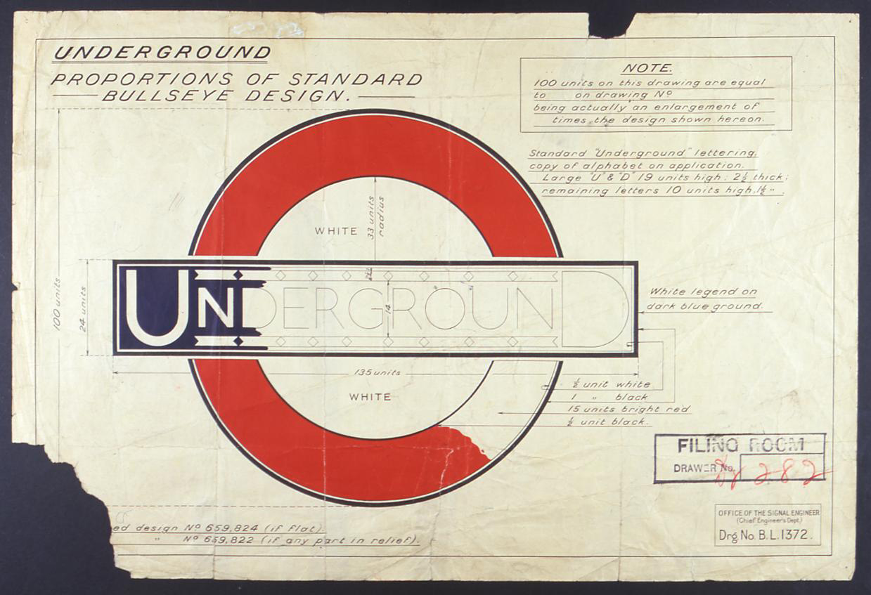 Edward Johnston's early sketches of the London underground logo
