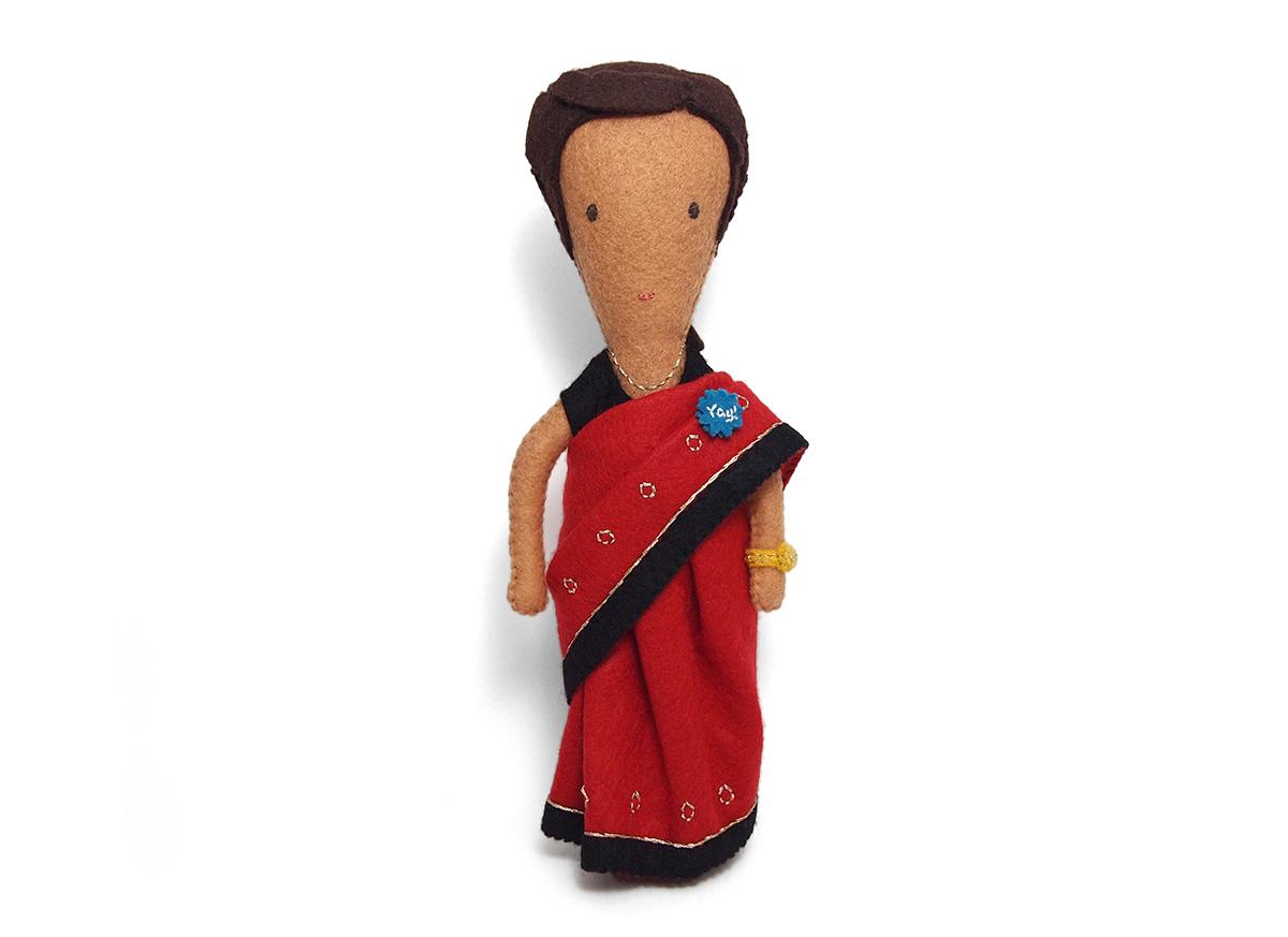 moo.com employee Jyoti's felt figure by Helen Greenstein
