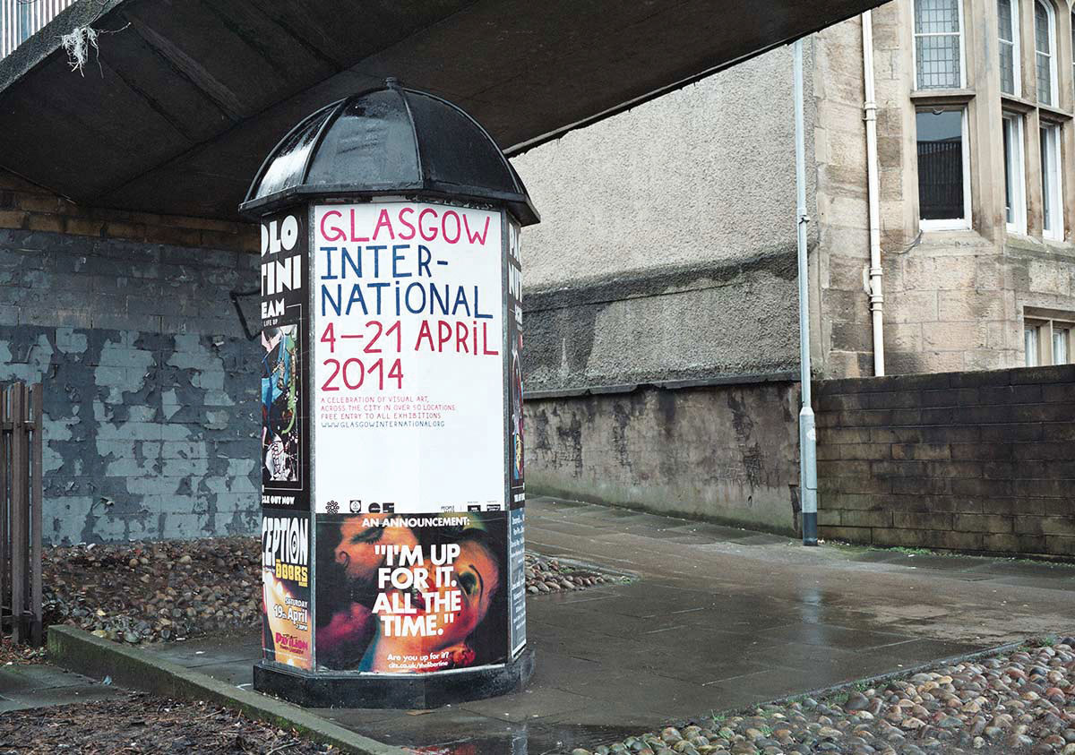 Hand painted font by Kellenberger White for Glasgow International festival