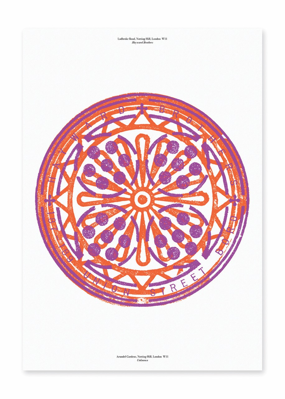Marina Willer's fluoro manhole cover rubbings celebrate the intricate designs found on London's streets